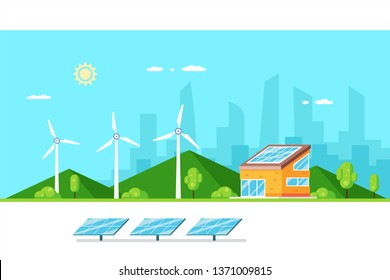 Green renewable energy house concept. Solar panel and wind turbines. Flat style illustration.