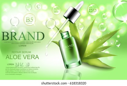 Green repair serum with aloe vera essence oil, bubbles, sparkles elements and water drops. Vector realistic illustration.