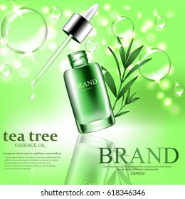 Green repair serum with tea tree essence oil, bubbles, sparkles elements and water drops. Vector realistic illustration.