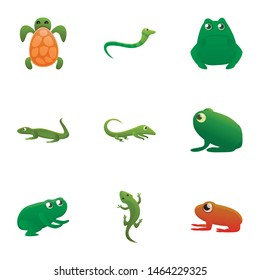 Green reptile icon set. Cartoon set of 9 green reptile vector icons for web design isolated on white background