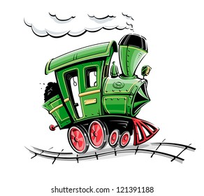 green retro cartoon locomotive vector illustration isolated on white background