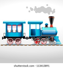 green retro locomotive with coach ride by rail (vector illustration)