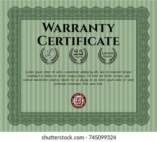 Green Retro Warranty template. Money Pattern design. With complex linear background. Vector illustration.