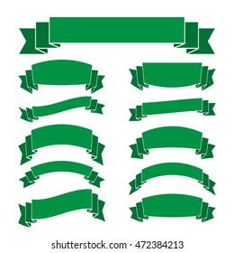 Green ribbon banners set. Beautiful blank for decoration graphic Old vintage style Flat design. Decorative elements isolated on white background. Template collection labels Vector illustration