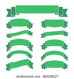Green ribbon banners set. Beautiful blank for decoration graphic Old vintage style Flat design. Premium decorative elements isolated on white background. Template collection Vector illustration