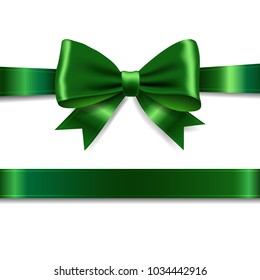 Green Ribbon Bow With Gradient Mesh, Vector Illustration