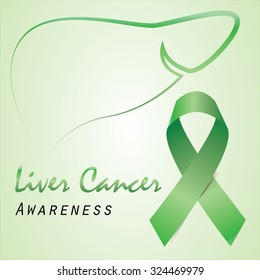 Green ribbon and liver outline for liver cancer campaign.