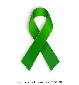 Green ribbon. Scoliosis, Mental health and other awareness symbol. Vector illustration