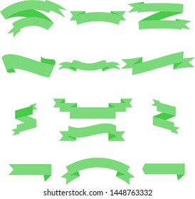 Green Ribbon Set InIsolated White Background for business, Vector Illustration