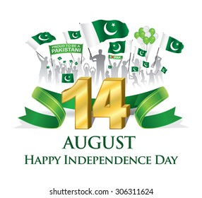 Green ribbon with Silhouette Pakistani citizen celebrating 14th August Happy Independence day with waving flag & balloon, vector illustration