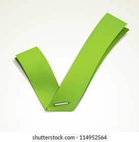 Green ribbon stapled to a white sheet forming a tick. EPS10 vector.