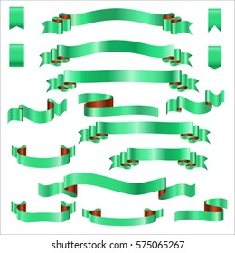 Green Ribbons Set With Gradient, Design vector Illustration