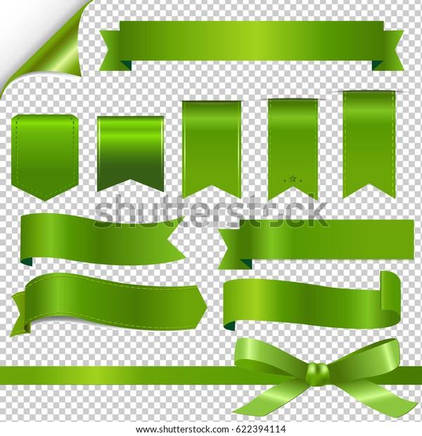 Green Ribbons Set Gradient Mesh, Vector Illustration