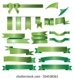 Green ribbons set isolated on white background