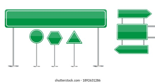 Green road signs. City illustration. Travel concept.  Vector set. Stock image. EPS 10.