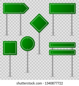 Green road signs. Information panel. Vector.