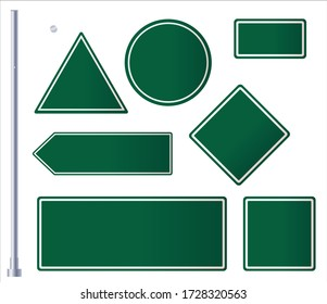 Green Roadsigns Set. Blank Green road signs on white background.