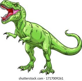 Green roaring tyrannosaurus. Prehistoric carnivorous dinosaur. Vector illustration isolated on transparent