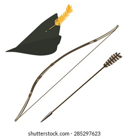 Green robin hood hat with feather, bow and arrow vector illustration,