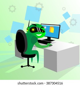 Green Robot Sit Desk Using Computer Technology Cyber Video Game Flat Vector Illustration