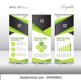 Green Roll Up Banner template and info graphics, stand design, advertisement, display, business flyer, vector illustration