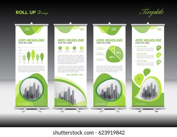 Green Roll Up Banner template and infographics, stand design, advertisement, pull up, vector, banner layout, business flyer, display, x-banner, flag-banner, infographics, presentation, poster