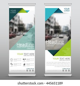 Green roll up business brochure flyer banner design vertical template vector, cover presentation abstract geometric background, modern publication x-banner and flag-banner, layout in rectangle size.