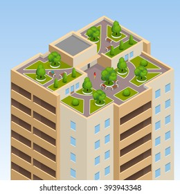 Green roofs, roof garden, eco roof. Flat 3d vector isometric illustration