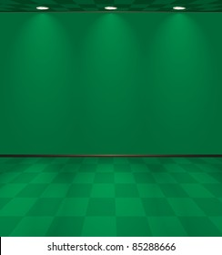 Green room with lights