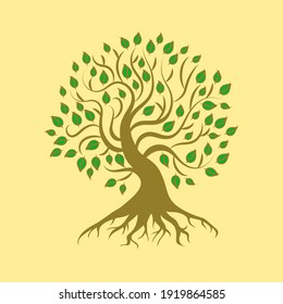 Green Root Tree with Leaves. Vector outline illustration