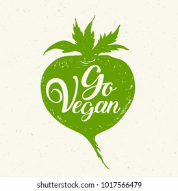 Green root vegetable and lettering Go vegan. Vegetarian lifestyle concept. Hand drawn vector illustration