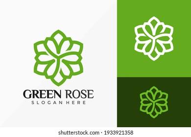 Green Rose Floral Logo Vector Design. Abstract emblem, designs concept, logos, logotype element for template.