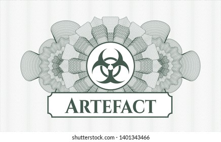 Green rosette. Linear Illustration. with biohazard icon and Artefact text inside