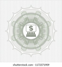 Green rosette. Linear Illustration with business congress icon inside