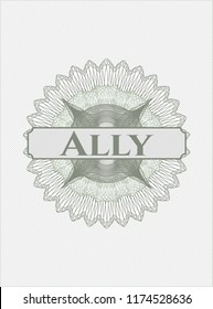 Green rosette. Linear Illustration with text Ally inside