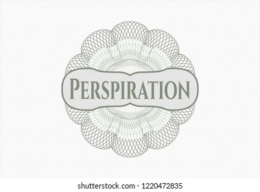 Green rosette. Linear Illustration with text Perspiration inside
