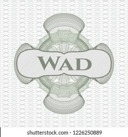 Green rosette. Linear Illustration with text Wad inside