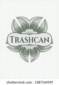 Green rosette. Linear Illustration with text Trashcan inside