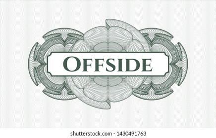 Green rosette. Linear Illustration. with text Offside inside