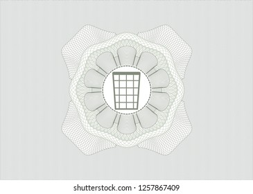 Green rosette. Linear Illustration with wastepaper basket icon inside