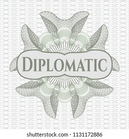 Green rosette or money style emblem with text Diplomatic inside