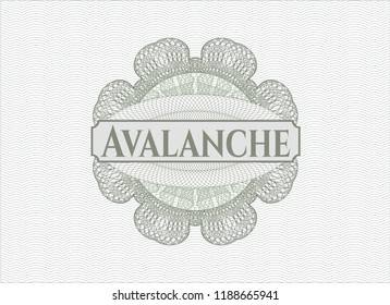 Green rosette (money style emblem) with text Avalanche inside