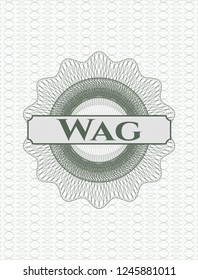 Green rosette or money style emblem with text Wag inside