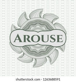 Green rosette (money style emblem) with text Arouse inside