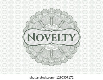 Green rosette (money style emblem) with text Novelty inside