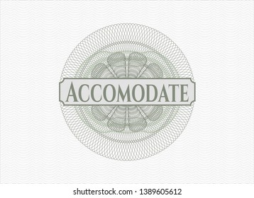 Green rosette or money style emblem with text Accomodate inside