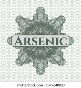 Green rosette or money style emblem with text Arsenic inside