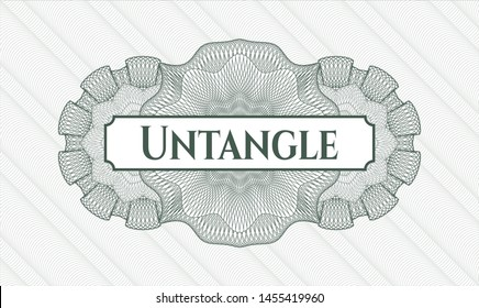 Green rosette (money style emblem) with text Untangle inside