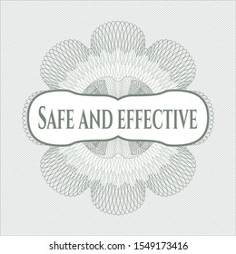 Green rosette or money style emblem with text Safe and effective inside