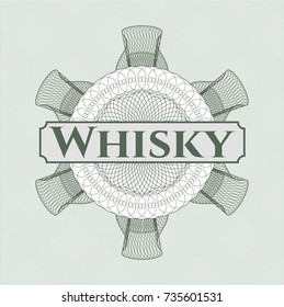 Green rosette with text Whisky inside